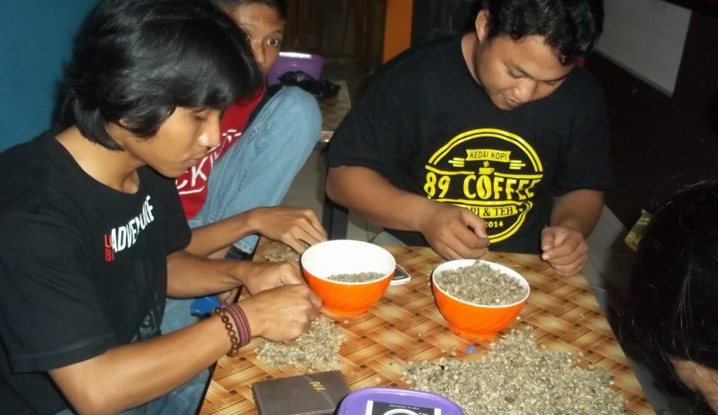 Petugas Zone Coffee memilih kualitas kopi Mamasa yang hasilnya akan disuguhkan kepada pengunjung di Polewali Mandar. (Foto: Burhanuddin HR)
